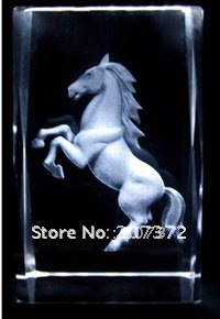 Wholesale retail by Crystal craft Horse home decoration accessories 10pcs Customize 5*5*8CM paperweight 3D promotional gift