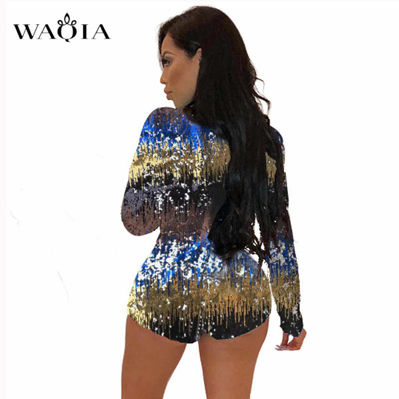 cff5dd51ef4 ... 2018 New Charming Colorful Sequins Jumpsuit Rompers Women Long Sleeve  Sexy Deep V Neck Bodysuit Xmas ...
