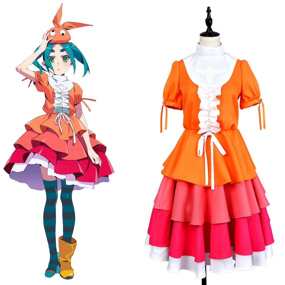 Monogatari Series Nisemonogatari Yotsugi Ononoki Dress Cosplay Costume Uniform Club Party Coat Halloween For Girl Female