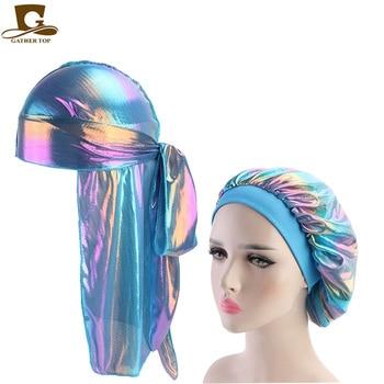 Fashion Men's Durag Headwear Durags and Bonnets Women  Comfortable Cap Couple 2pcs sets 8
