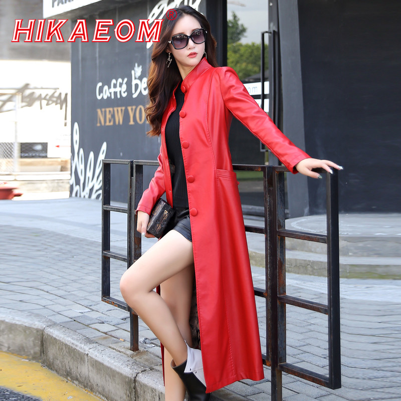 New Fashion Autumn Faux Sheepskin Coat Women's Leather Jacket Sashes Long Plus Size 4XL 5XL Outerwear Fashion Women Trench Coat