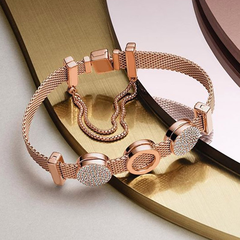 Nouveau 100% 925 Bracelet en argent Sterling réflexions ensemble Zircon or Rose élégant Fit bricolage européen Original charme perle bijoux cadeau