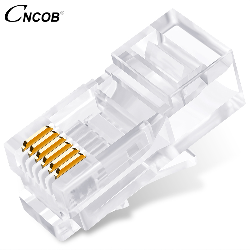 CNCOB rj12 6p6c long body unshielded telephone crystal head rj11 six core telephone line connector