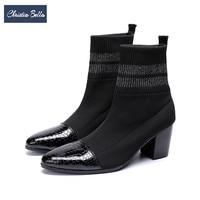 Christia Bella осень зима трикотажные Эластичные носки сапоги для Для мужчин Короткие ботинки на высоком каблуке Для мужчин острый носок ботильон