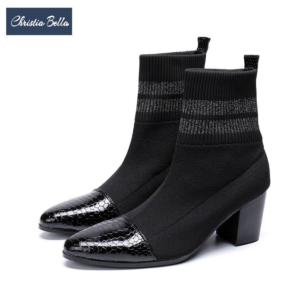 Christia Bella Automne Hiver Tricoté Élastique Chaussettes Bottes pour Hommes Haute Talon Court Bottes Hommes Bout Pointu Cheville Bottes Parti chaussures