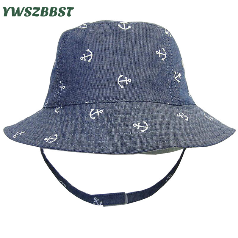 Fashion Cowboy Baby Sun Hat with Anchor Printing Boy Basin Hat Beanie Baby  Girl Sunhat Kids Cap with Tie Cotton Children Cap 0d3b370f491