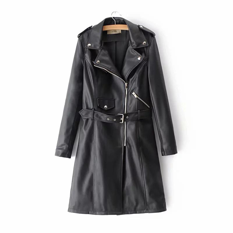 Winter black Faux   leather   jacket women long windbreaker coat Streetwear punk zipper PU jacket female Motorcycle coat 2019