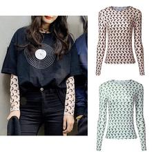 Yfashion Moon Print Fashion T-shirt Women Summer Sexy Slim Round Neck Long Sleeve T Shirts Cotton Tee for Female Women все цены