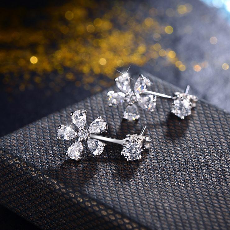 2017 new arrival hot sell fashion shiny cz zircon flower 925 sterling silver ladies stud earrings women jewelry gift wholesale in Stud Earrings from Jewelry Accessories