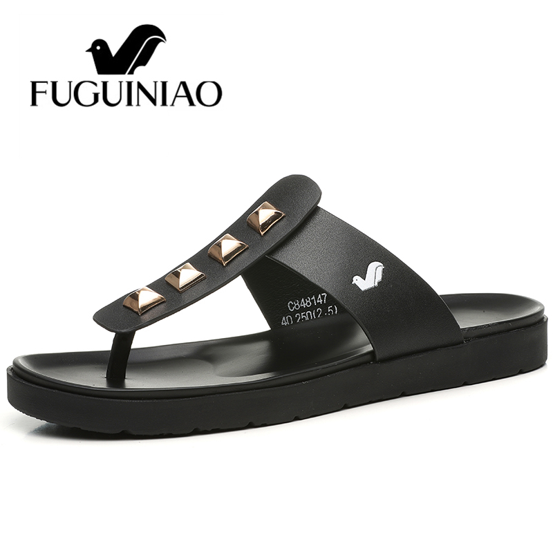 Free shipping Fuguiniao fashion summer Leather men s slippers Flip Flops with Rivets color black white