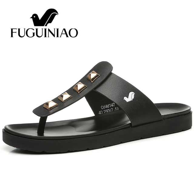 Free shipping ! Fuguiniao fashion summer  Leather men's slippers / Flip Flops with Rivets / color black , white size 38-44