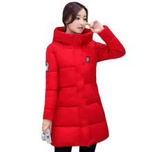 High Quality Causal Ladies Coat Women Winter Long Hooded Coat Warm Thicken Red Womens Jacket Solid Padded Female Down Parka