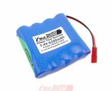 Batería de lámpara de cueva FMA Li-ion 7,4 V 6200mAh w/PCM de NCR18650A 3100mAh célula 2S2PB 3mm