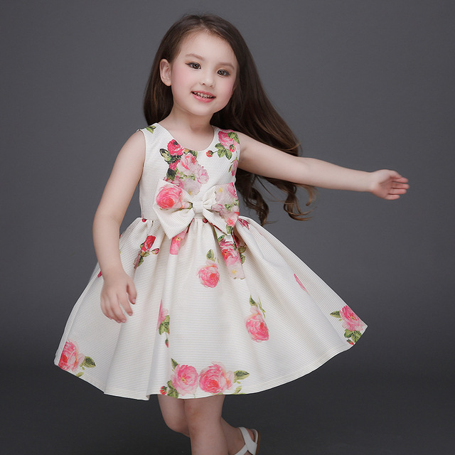 1c468d10b06 Girls Dress Brand Baby Girls Clothes Rose Floral Kids Dresses Sleeveless  Cotton Children Dress 3-