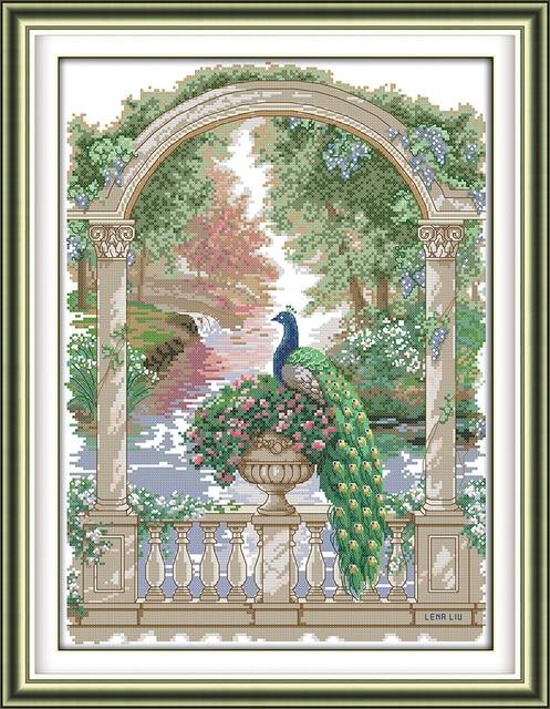 Green peacock cross stitch