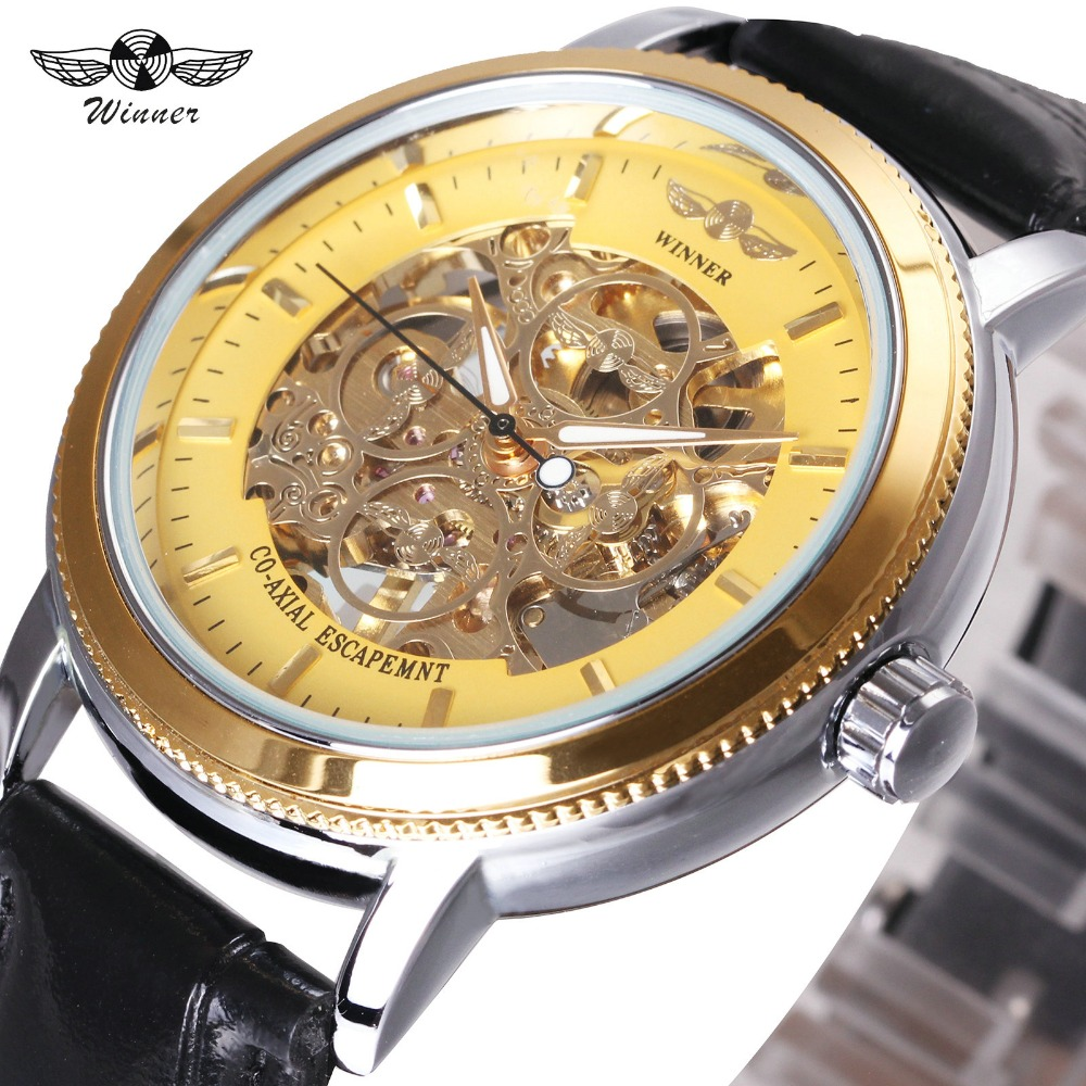 2018 WINNER Unique Fashion Design Women Hand-wind Mechanical Watch Skeleton Dial Leather Strap Wristwatch For Ladies winner men fashion black auto mechanical watch leather strap skeleton dial square shape round case unique design cool wristwatch