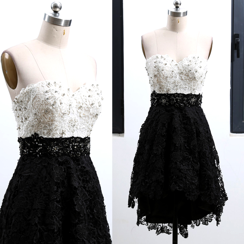 MACloth Black A-Line Strapless Knee-Length Short Crystal Lace   Prom     Dresses     Dress   S 262552 Clearance