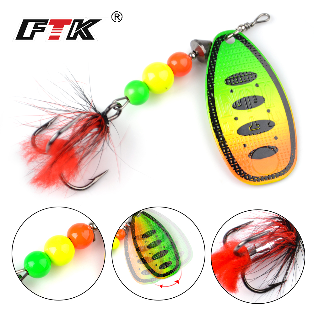 FTK 1Pcs Fishing Lure Mepps Spinner Bait 8g 13g 19g Spoon Lures Metal Bass Hard Bait With Feather Treble Hooks Wobblers Tackle