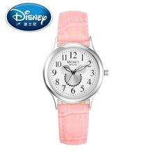 2017 Disney Kids Watch Children Watch Fashion Cute Wristwatches Girls Mickey Mouse Leather clock