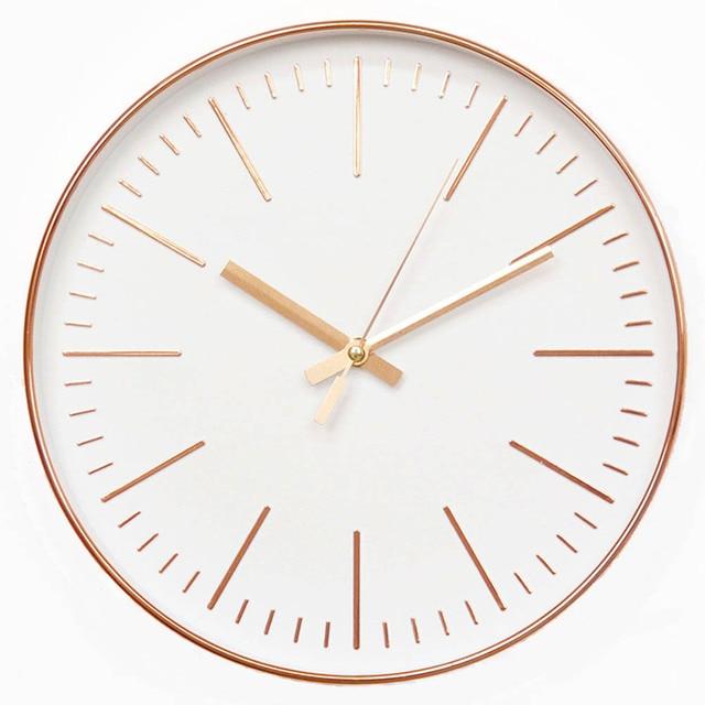 91b8bff45177 12 pulgadas de oro rosa Reloj de pared minimalista moderno reloj redondo  Reloj de pared de