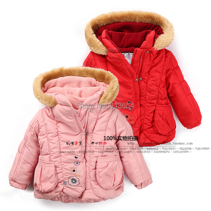 new 2014 girls winter coat baby clothing children outerwear fashion hooded baby girls jackets 2017 new baby girls
