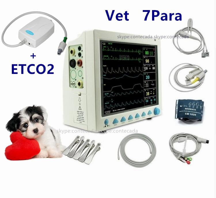 CONTEC CMS8000 VET Veterinary Patient Monitor Capnograph Vital Signs 7 parameter ETCO2 ICUECG RESP SpO2 PR