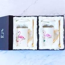 Creatieve Flamingo's Handleiding Gouden Plaat Bone China Mok Met Deksel & Lepel Roze Keramiek Ontbijt Melk Koffiekopje Met Gouden Handvat