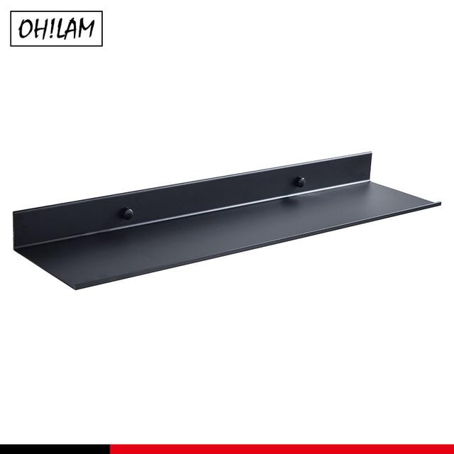 Black Bathroom Shelves Holders 30/40/50/60cm Lenght Kitchen Wall Shelf Basket Shower Room Storage Rack Bathroom Accessories