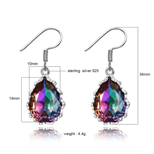Drop Earrings For Women Colorful Gemstone Multicolor Tourmaline Earring S925 Sterling Silver Jewelry New Year Christmas Gifts