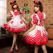 New Arrival Halloween Party Cosplay Costume Polka Dot Lolita Dress Maid Cosplay Costumes for women Free Shipping