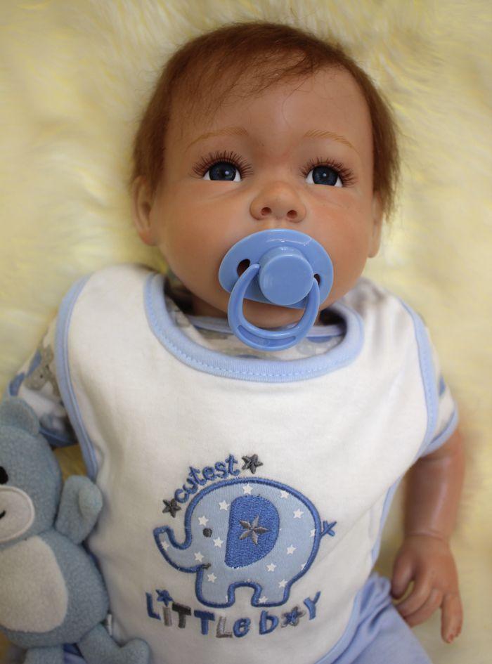 50cm Soft Silicone Vinyl Dolls Reborn Baby Brown Wig Girl Handmade Cotton Body Lifelike Bebe Juguetes Babies Toys
