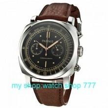 PARNIS 45mm nueva moda de alta calidad movimiento de cuarzo Japonés silver case negro dial reloj hombre 0262aaa