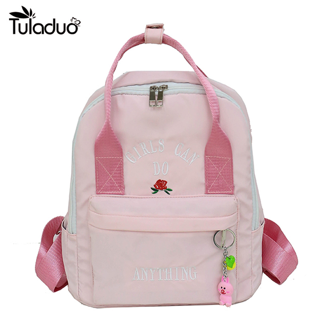 c286feadd0ef Nylon Girl Backpack With Cute Rabbit Bag Female Kawaii Bookbag Flower  School Backpacks For Teenage Girls