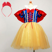 Baby Girl Cute Snow White Princess Dress With Red Cape Hairband Kids Children Party Cosplay Costume