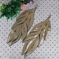 Gold Silver Leaves Sequins Patch Vintage Embroidered Applique Fashion Clothing Decoration Sew On Patch Accessories Motif
