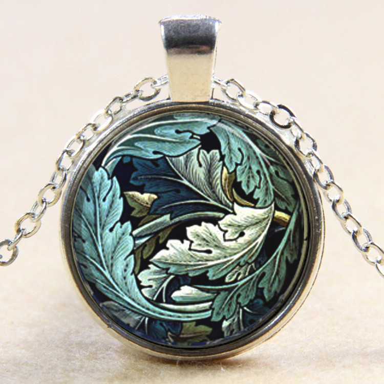 2018 New Trendy Floral Leaf William Morris Vintage Fabric Print Pendant Necklace Inspiration Jewelry YP5169