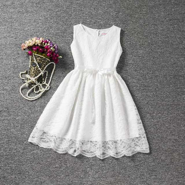 placeholder Cool Summer Solid Bow Toddler Girl Lace Dress With Blet For 4  to 10 Years Old b51a162a7a38