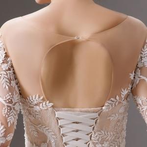 Image 5 - SL 6064 luxury shinny lace ball gown wedding dresses 2019 long sleeves muslim wedding bridal dress