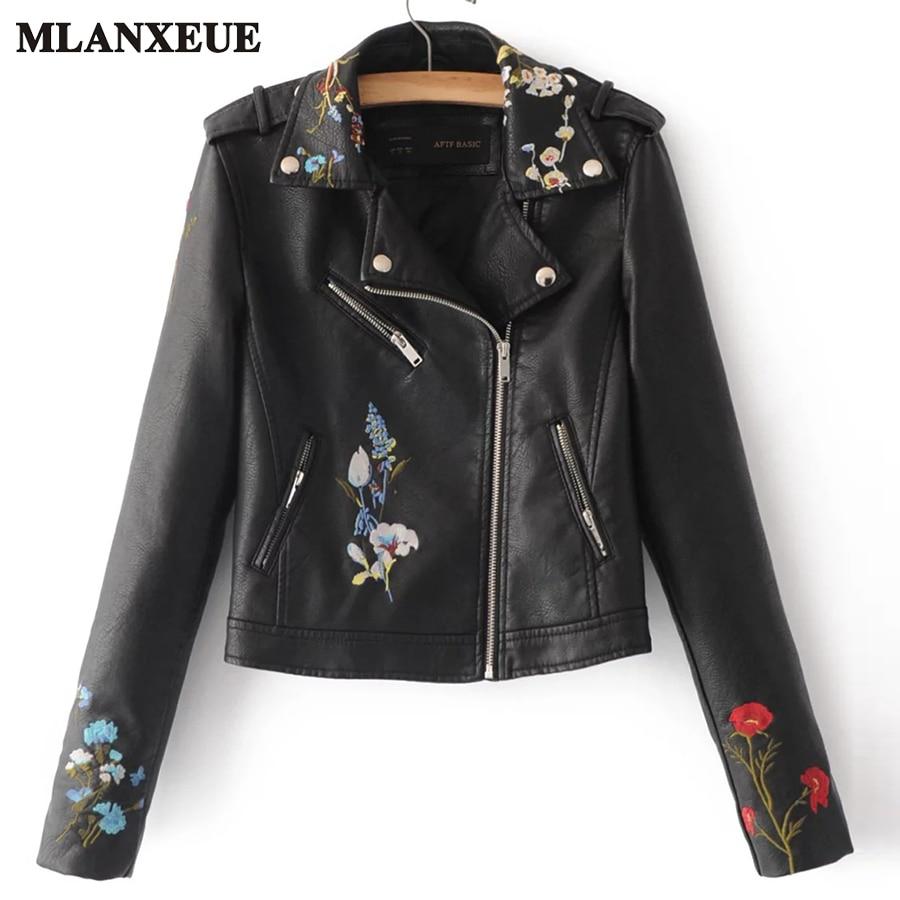 Fashion Embroidery PU Fur Clothing Woman 2017 Flower Zipper Motorcycle Jacket Cool Lapel Ladies Coat Casaco Feminino
