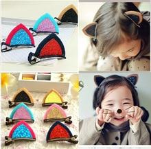 6884 elastic band bracelet summer style hair accessories girl headband clips gum weave cat ear bow bandana ornaments
