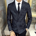 Mens Floral Blazer Double Breasted New Arrivals 2016 Blazer Masculino Slim Fit Blazer Homens Florais Do Partido Blazer Brasão Jacket