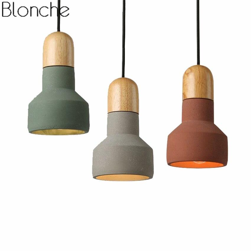 Nordic Cement Wood Pendant Lights Loft Industrial Decor Led E27 Modern Colorful Hanging Lamp For Kitchen Bar Lighting Fixture