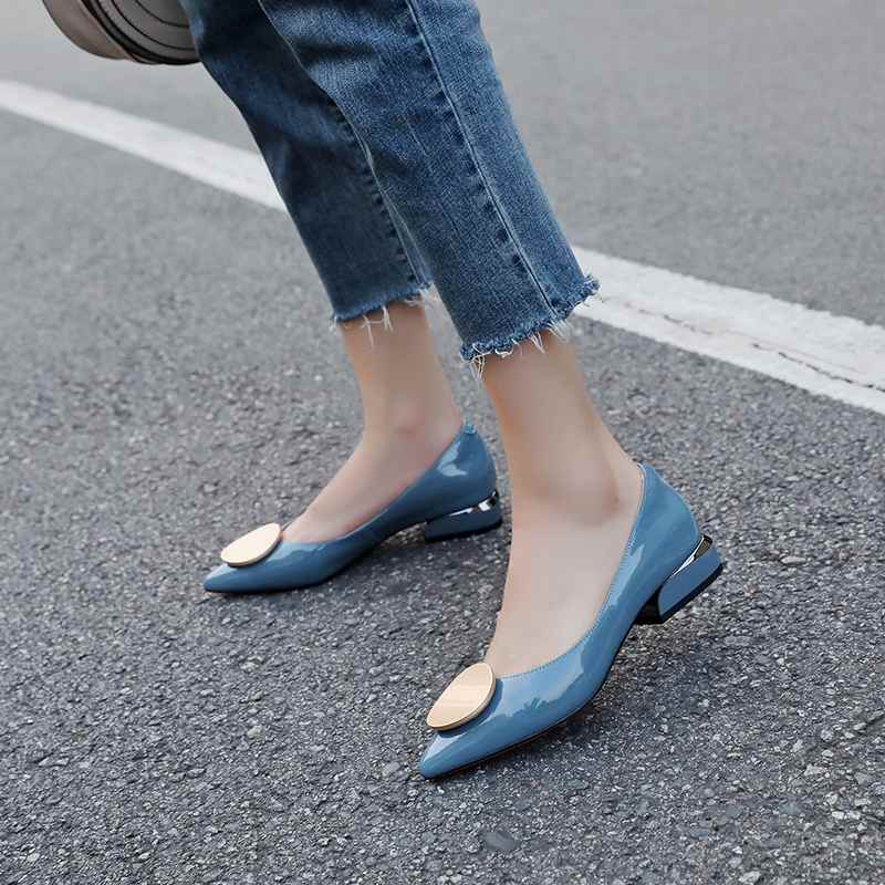 Krazing وعاء 2019 جلد طبيعي الشارع الشهير زلة على أشار تو كعب منخفض جولة مشبك الفاخرة مضخات للنساء أكسفورد الأحذية l1f3-في أحذية نسائية من أحذية على  مجموعة 2
