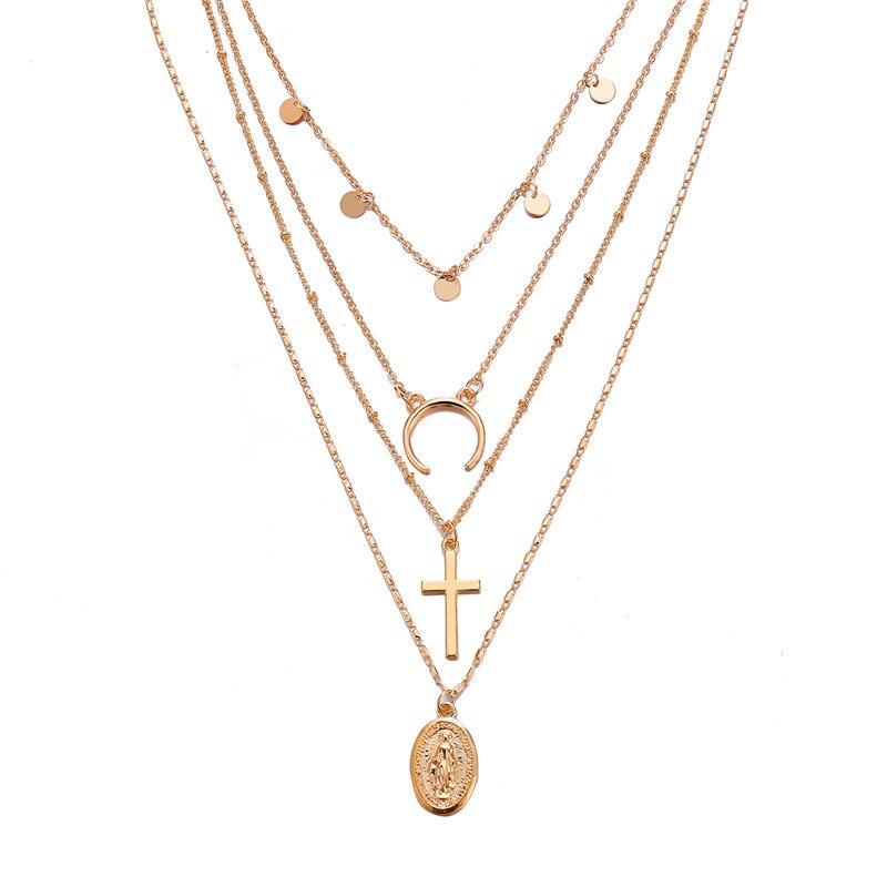 Многослойный Кристалл лунные ожерелья и кулоны для женщин винтажное очаровательное Золотое колье ожерелье богемное ювелирное изделие - Окраска металла: FCS796A2