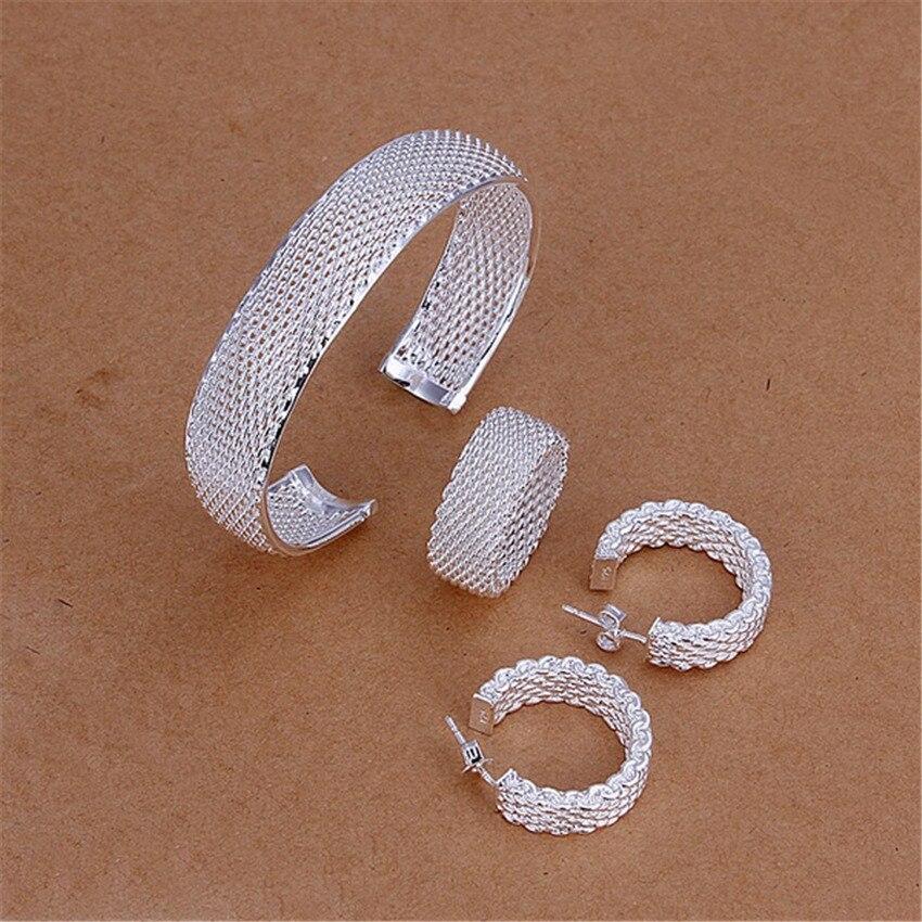 Hochzeits- & Verlobungs-schmuck Neue Silber überzogene Schmuck-set Europäischen Stil Exquisite Paket Net Kreisförmigen öffnungen Armband Ring Stud Ohrringe S249 Exquisite Traditionelle Stickkunst