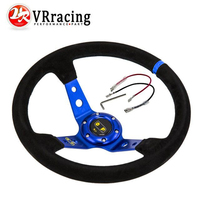 VR STORE Blue Steering Wheel ID 14inch 350mm OMP Deep Corn Drifting Steering Wheel Suede Leather