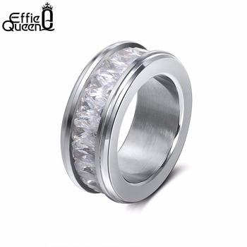 92abd1986cc2 Effie reina clásico amante eterno boda banda anillo de compromiso con  Zirconia cúbico anillos de acero inoxidable para la joyería de las mujeres  IR48