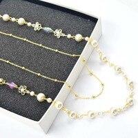 ファッション白大小模擬真珠二層ネックレス用女