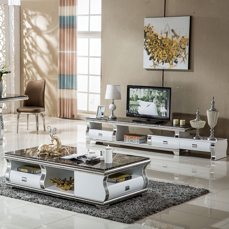 TV Stand Modern Living Room TV Monitor Stand Mueble Stalinite Marble Stainless Steel Cabinet Mesa+tv Table+Coffee Centro Table