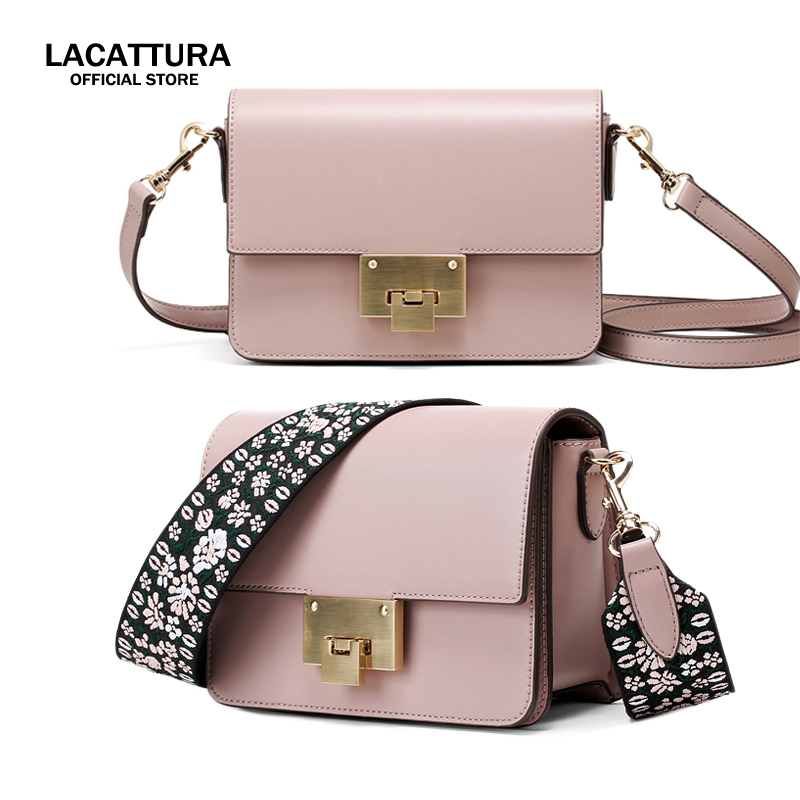 A1388 LACATTURA brand design Fashion women pu leather Double shoulder wide strap Messenger Bags ladies party Crossbody Bag